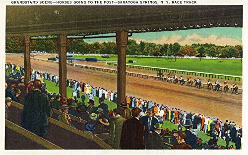 Saratoga Springs, New York - Horses Going to the Post at Race Track (9x12 Art Print, Wall Decor Travel Poster) (New Post York Standard)