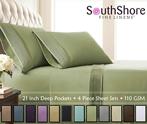 Southshore Fine Linens - 4 Piece - Extra Deep Pocket Pleated Sheet Set, QUEEN, SAGE GREEN