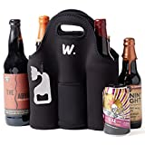 6 pack cooler neoprene - Insulated 6 Pack Beer Bottle Carrier with Opener, Thick Neoprene Bag. Keeps Cold and Protected, Machine Washable