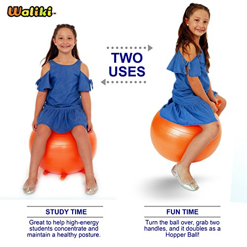 WALIKI TOYS Children's Chair Ball with Feet, Alternative Classroom Seating (Inflatable Balance Ball Chair With Stability Legs for School, Pump Included, 18''/45CM, Orange) by WALIKI (Image #2)