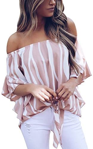 Asvivid Womens Striped Shoulder Blouses product image