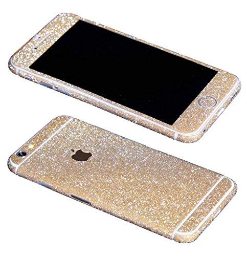 Just Mode(TM)Glittering Style Full Body Bling Glitter Film Sticker Case Cover Protector for Apple iPhone 6 Plus 5.5-Champagne Gold