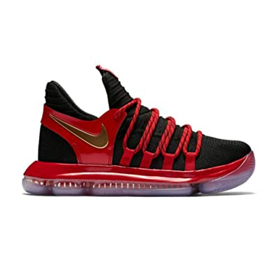 NIKE Zoom KD10 GS Basketball Shoes Kids Youth All Black New 918365 004 5