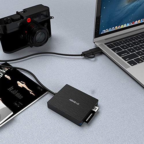 CFast Card Reader, BYEASY CFast 2.0 Reader via USB 3.0 or USB C Port, Portable Professional CFast Memory Card Reader with Thunderbolt 3 Port Using for Sandisk, Lexar, Transced, Atomos, Snoy Card More by BYEASY (Image #3)