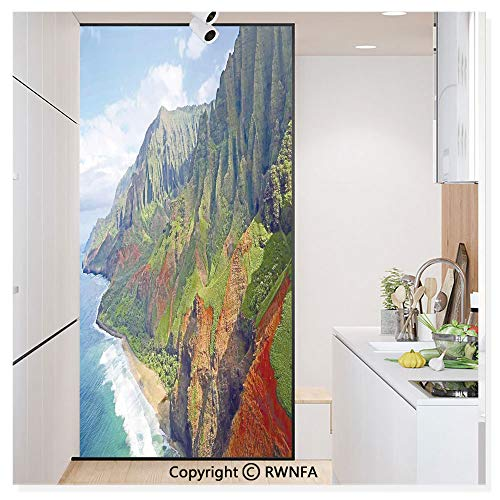 RWN Film Removable Static Decorative Privacy Window Films Na Pali Coast Kauai Hawaii Seashore Greenery Adventurous Journey Landscape Scenery for Glass (17.7In. by 78.7In),
