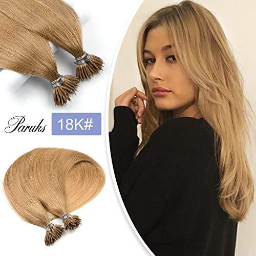 Paruks Per Strand Nano Tip Remy Human Hair Nano Ring Beads Hair Extensions 20inch (25strands, 18K)