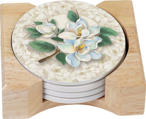 (CounterArt Magnolias Design Round Absorbent Coasters in Wooden Holder, Set of 4)
