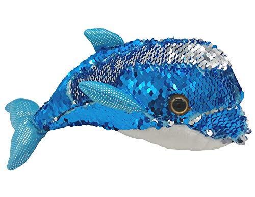 LMC Products Blue Dolphin Stuffed Animals - Reversible Sequin Dolphin Plush - Flip Blue to Silver - 10