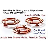 Anello di sicurezza (piastra di ritenzione, anelli di bloccaggio) per Philips Testine di rasatura modello/tipo SH70 & SH90 (colore arancione), Serie di rasoio S7000 S9000