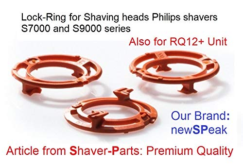 Lock-Ring (Retaining-Plate, Blade Holder) for Philips Shaving Heads Model/Type SH70 and SH90 (Colour Orange) for Shaver Series S7000 & S9000 (and Replacement RQ12 Plus+) ()