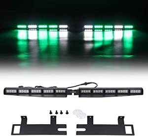 "Strobe Light Bar /34"" 40 LED Emergency Warning/Visor Dash Deck Split/w/Take Down Signal/LED Windshield Flashing (Green/White)"