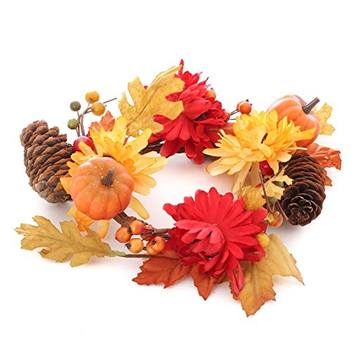 Fall Artificial Mum and Pumpkin Candle Ring for Decorating and Embellishing (Pinecone Candle Ring)