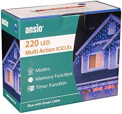 ANSIO 220 LED Blu Tenda luminosa Luci natalizie per interni e esterni, Bianco caldo luminose con 8 modalità luce/timer, Memoria, trasformatore incluso 7,5 m lunghezza-Cavo Verde