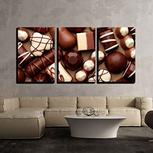 wall26-3 Piece Canvas Wall Art - Chocolate Sweets - Modern Home Decor Stretched and Framed Ready to Hang - 16