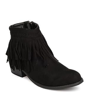 FE32 Women Faux Suede Chunky Heel Fringe Bootie - Black