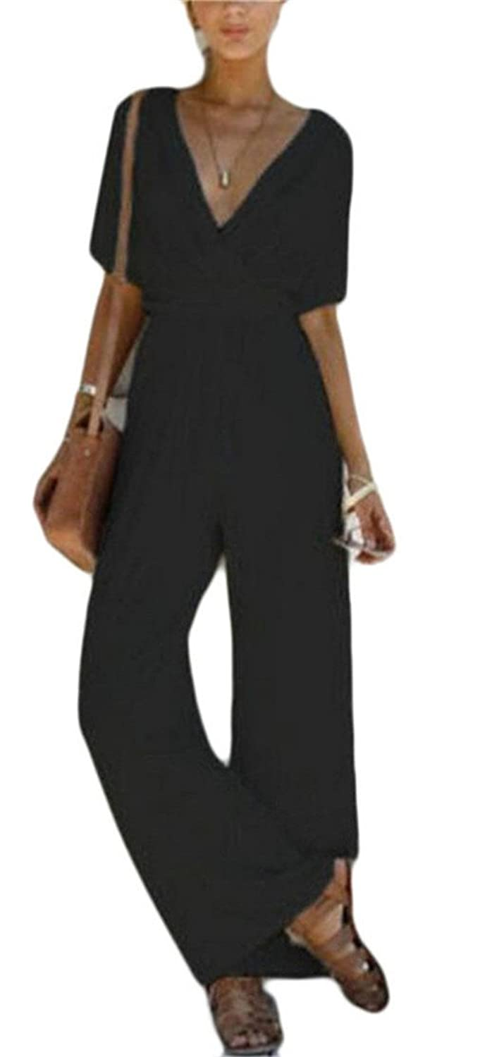 M&S&W Womens High Wast Casual Wide Leg Pants Short Sleeve Solid Color V Neck Jumpsuit