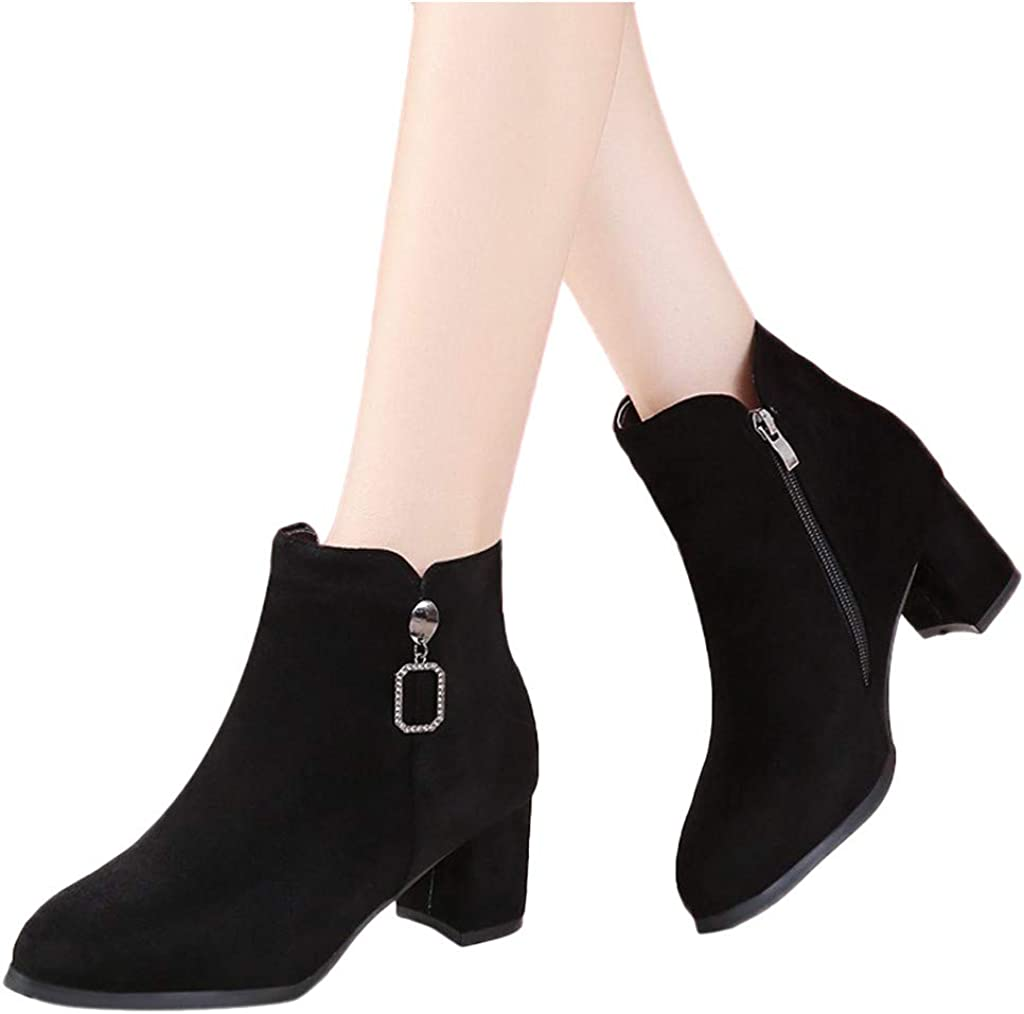 Womens Ankle Boots Side Zipper Fall Suede Booties Square Low Heel Short Shoes Fashion Office British Style Boot