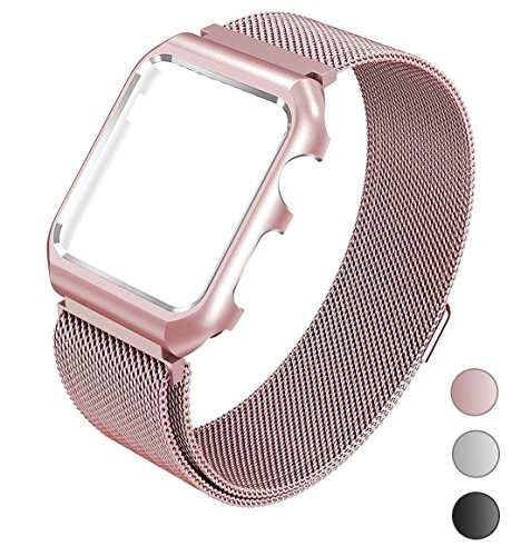 For Apple Watch Band Milanese Loop 42mm Replacement Band with Metal Protective Case for Men for Women for Apple Watch Series 3 Series 2 Series 1 - Rose Gold