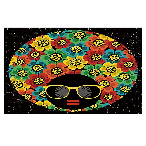 3D Floor/Wall Sticker Removable,70s Party Decorations,Abstract Woman Portrait Hair Style with Flowers Sunglasses Lips Graphic Decorative,Multicolor,For Living Room Bathroom -
