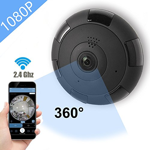 IP Camera 360 WIFI 1080P Outdoor Indoor Dome Camera Panoramic with Audio Motion Detection Alarm Monitor at Night for Home Security Support TF Card Android IOS