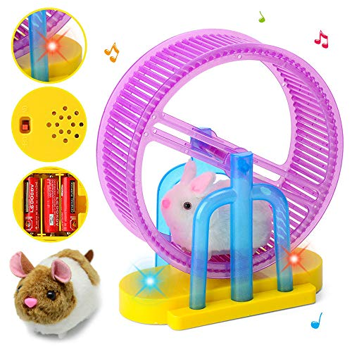 LiPing Hamster Rabbit Sport Wheel LED Light Music Children's Electronic Plush Stuffed Animals Doll Toy for Children's Day Set Gift (Hamster)