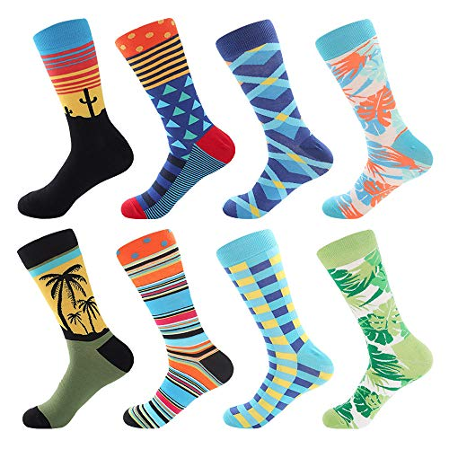 Bonangel Men's Fun Dress Socks - Colorful Funny Novelty Crazy Crew Socks Packs with Cool Argyle Pattern (Sunset 2) (Colorful Sock Pack)