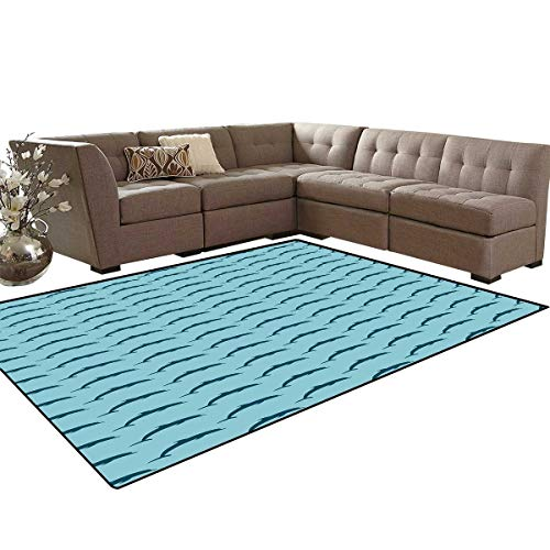 Dolphin Kids Carpet Play-mat Rug Ocean Fauna Collection Dolphin Silhouette with Blue Color Scheme Abstract Room Home Bedroom Carpet Floor Mat 6'6