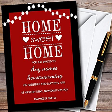 Red String Lights Personalized Housewarming Party Invitations
