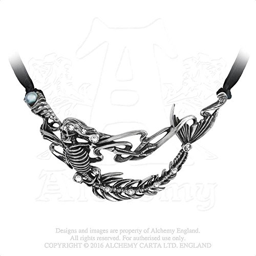 Mermaid of Cornwall Shadow of Zennor 16th Century Seducer of Men Inlaide Swarovski Crystal Necklace By Alchemy Gothic - Sixteenth Century Fashions
