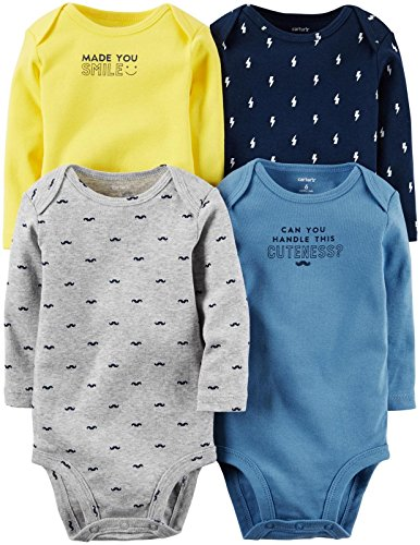 Carter's Baby Boys' Multi-PK Bodysuits 126g338, Assorted, New Born