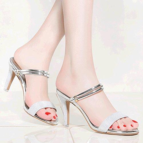 Princesse Femmes UK139 Avec EU35 Chaussures À Avec Pantoufles Sandales SHOESHAOGE Hauts Le Talons Fine Cool Mot Rome pA1qUxH