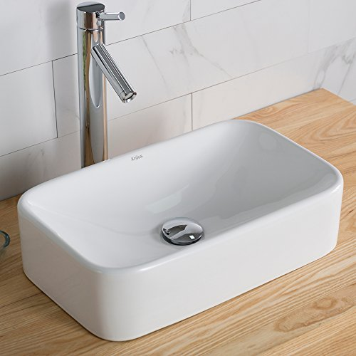 - Kraus KCV-122 Ceramic Above counter Rectangular Bathroom Sink, 19.44 x 11.84 x 5 inches, White