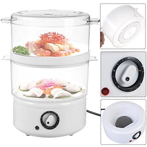 DPThouse 2-Tier Electric Food Steamer Steaming Bowl Kitchen Stackable Baskets w/ Timer
