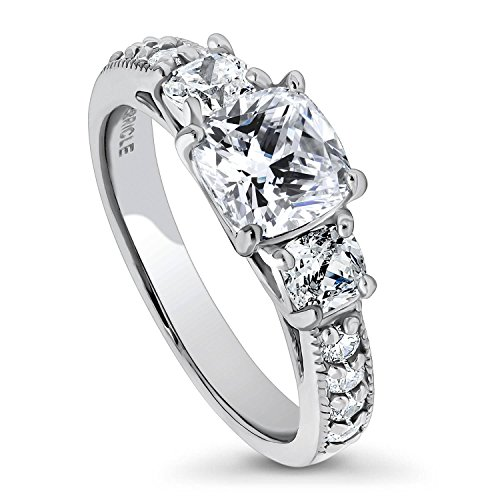(BERRICLE Rhodium Plated Sterling Silver Cubic Zirconia CZ 3-Stone Promise Engagement Ring Size 6)