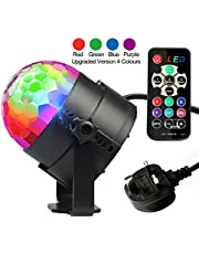 Disco Lights, Disco Ball Lights Upgraded 4 Colours RGBP Party Lights Strobe Light by InnooLight, Remote Control Music Activated DJ Light Magic Rotating LED Stage Light for Birthday Parties Decoration