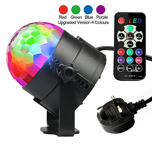Disco Lights, Disco Ball Lights Upgraded 4 Colours RGBP Party Lights Strobe...