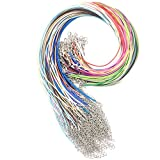 Dcatcher 20 Colours 100 PCS 1.5mm Waxed Necklace Cord Bulk with Lobster Clasp for DIY Jewelry Making