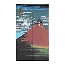 Made in Japan Noren Curtain Tapestry Hokusai Ukiyoe Hokusai Akafuji Red Fuji