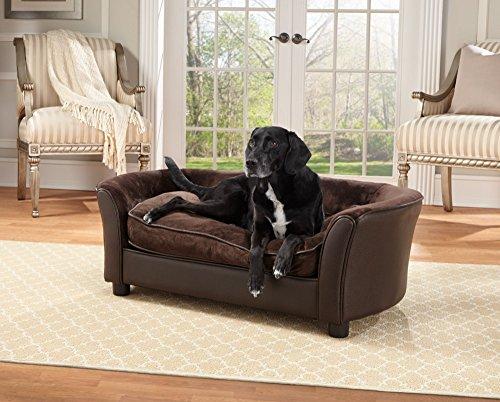 Enchanted Home Pet Ultra Plush Panache Pet Sofa In Pebble Brown - Medium (26 - 50 lbs)