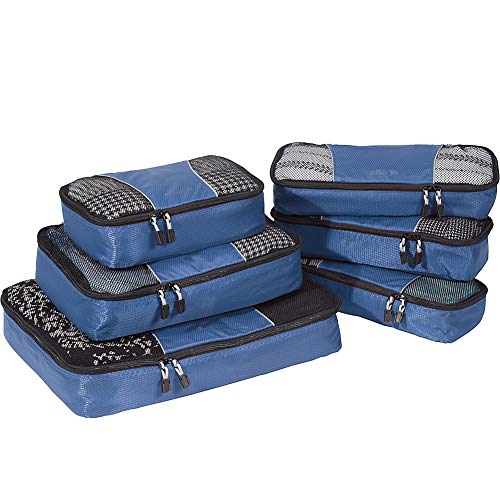 eBags Classic Packing Cubes for Travel - 6pc Value Set - (Denim)
