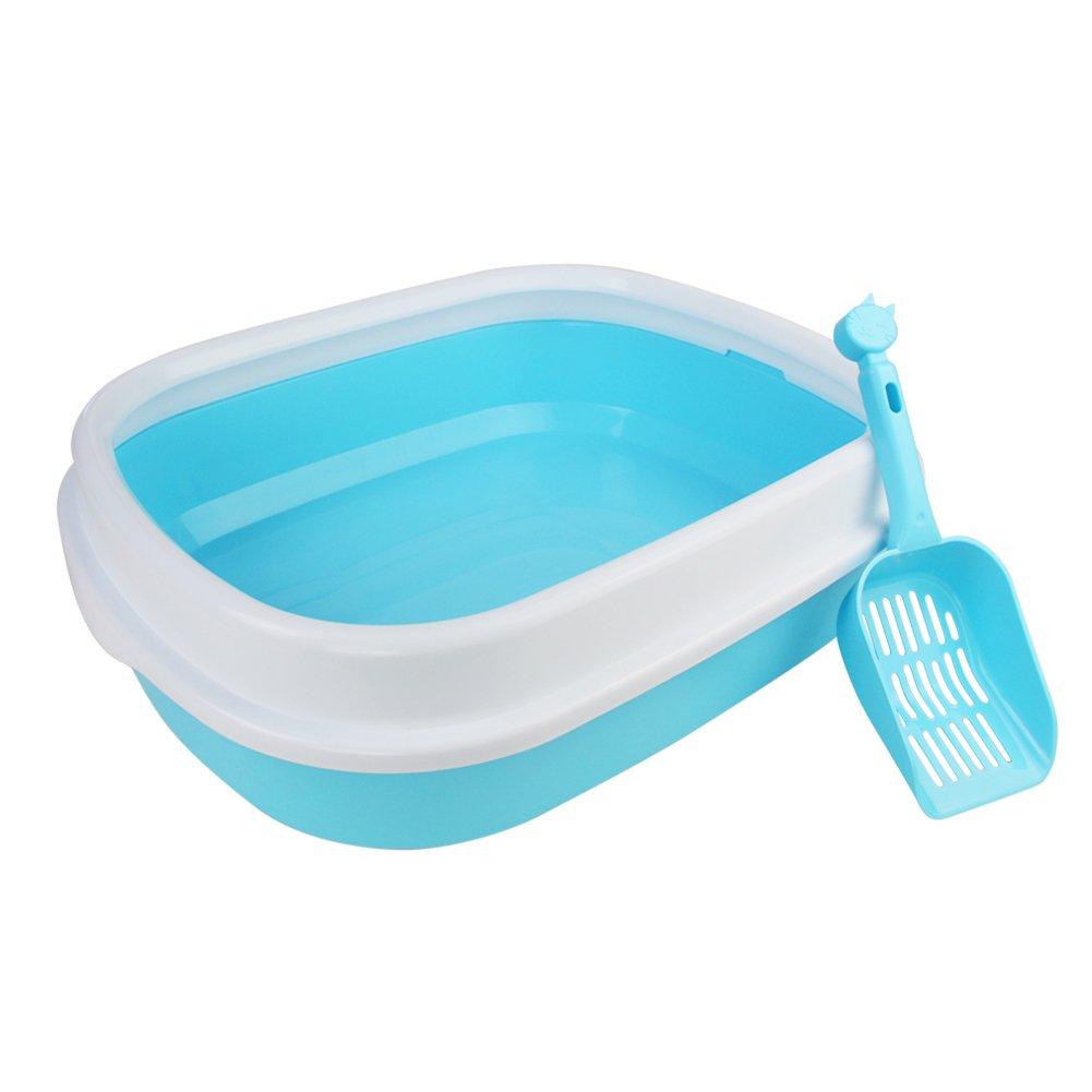 Arenero Gatos Inodoro Bandeja Higienica Gatos y Mascotas Incluye Pala, Abierto, Plástico Suave, 47 * 39 * 13cm, Azul: Amazon.es: Productos para mascotas
