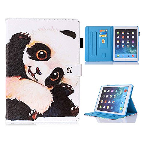 New iPad Case Smart Leather Case - UNOTECH Card Slot Protective Case with Pen Holder Wake/Sleep Function for New iPad 9.7 Inch 2017,iPad Air 1 2, Lovely Panda