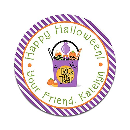 Personalized Halloween Favor Stickers - Set of 20 Custom Trick or Treat Themed Treat Bag Labels (HW126)