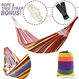 WeHammock   The Comfiest Two Person Double Cozy Brazilian Nest Hammock with Tree Straps for Indoor Outdoor Travel Camping, Durable Soft Cotton (Holds 250 lbs), Sturdy Rope and Carrying Case Included