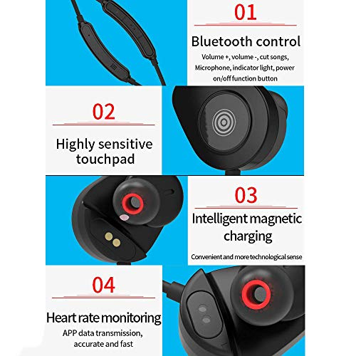HWJ Bluetooth 5 0 Headset Wireless Smart 6D Noise Reduction Running  Headphones can detect Heart Rate 8 Hours of Music time,Black