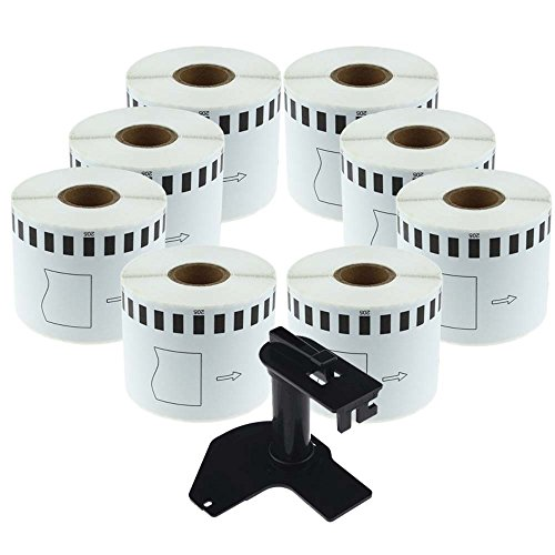 DK-2205 8 Rolls Brother-Compatible White Continuous Paper Labels 2.4in x 100ft With One Refillable Cartridge for QL 500 550 570 700 710W RQL710W 720NW 800 810W 1060N Printer (Dk Paper Tape)