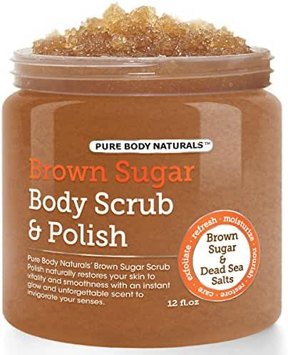 Pure Body Naturals Exfoliating Brown Sugar and Dead Sea Salts Body Scrub and Polish, 12 Oz
