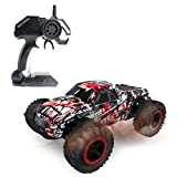 Hugine 1:16 2.4G RC Car Off Road Vehcicle High Speed Racing Monster Truck 25km/h Muscle 4 Wheel Independent Suspension Radio Control Cars Toys (Monster Red)
