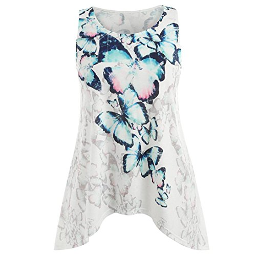 Price comparison product image Leedford Summer Blouse, Women Casual Butterfly Printed Plus Size Tank Tops Blouse Tank Tops Vest Camis (2XL,  White)