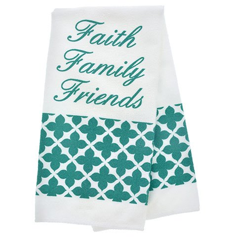 Teal (Blue-Green)''Faith Family Friends'' Kitchen Linen Collection 5-Piece Set - Two 15''x25'' Kitchen Towels, 7''x7'' Pot Holders, and 13'' Oven Mitt - Bundle of 5-Items